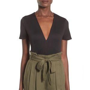 Madison & Berkeley Plunge Neck Black Bodysuit S